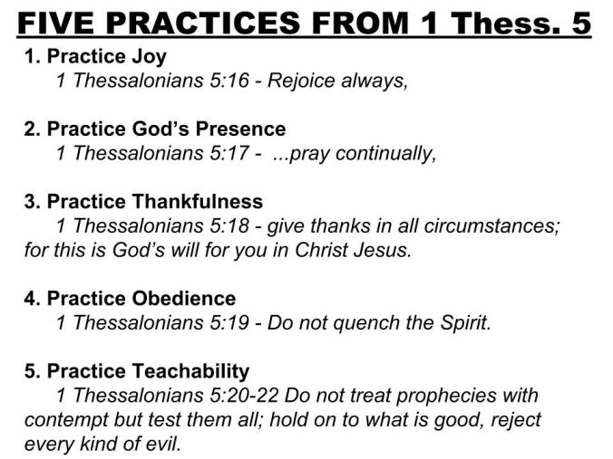 Slide - 5 Practices - 1 Thessalonians 5
