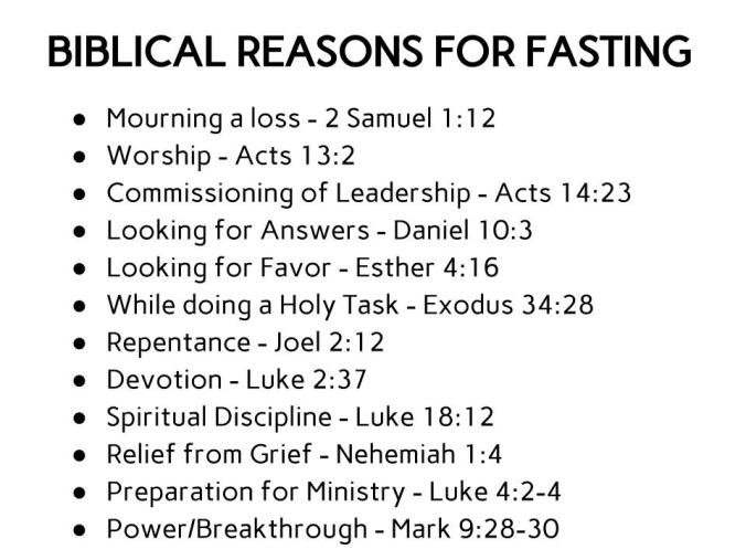 BIBLICAL REASONS FOR FASTING