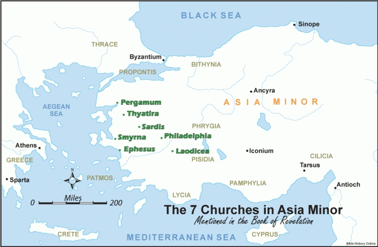Map - Seven Churches of Asia Minor